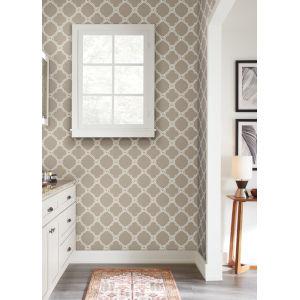 Silhouettes Taupe Open Trellis Wallpaper