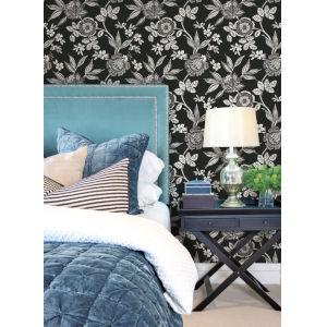 Silhouettes Black White Wood Cut Jacobean Wallpaper