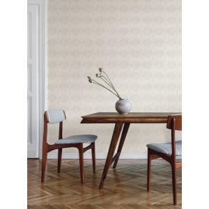 Silhouettes White Gray Palm Thatch Wallpaper