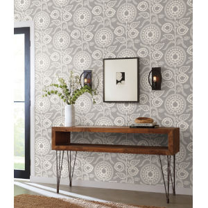 Silhouettes Gray Pomegranate Bloom Wallpaper