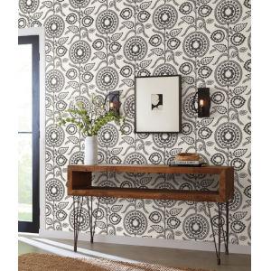 Silhouettes Black White Pomegranate Bloom Wallpaper