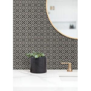 Silhouettes Black Taupe Pergola Lattice Wallpaper