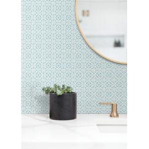 Silhouettes Blue Pergola Lattice Wallpaper