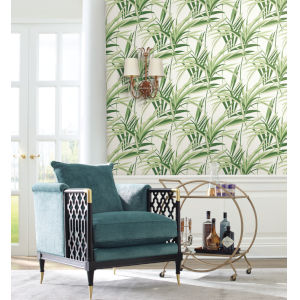 Tropics Green White Tropical Paradise Pre Pasted Wallpaper