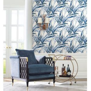 Tropics Blue White Tropical Paradise Pre Pasted Wallpaper