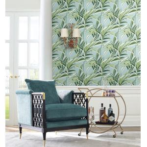 Tropics Green Light Blue Tropical Paradise Pre Pasted Wallpaper