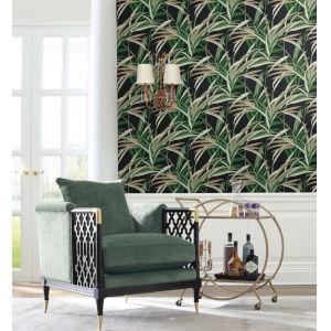 Tropics Green Black Tropical Paradise Pre Pasted Wallpaper