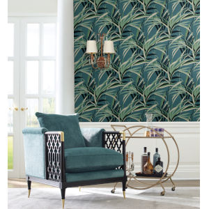 Tropics Green Teal Tropical Paradise Pre Pasted Wallpaper