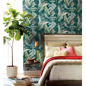 Tropics Dark Green Tropical Toss Pre Pasted Wallpaper