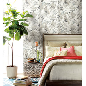 Tropics White Tropical Toss Pre Pasted Wallpaper