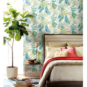 Tropics Aqua Yellow Tropical Toss Pre Pasted Wallpaper
