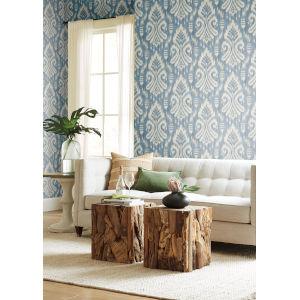 Tropics Blue Hawthorne Ikat Pre Pasted Wallpaper