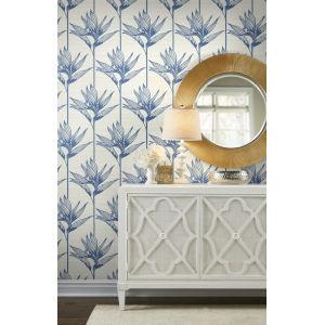 Tropics Blue Bird of Paradise Pre Pasted Wallpaper