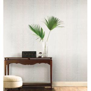 Tropics White Silver Palm Chevron Non Pasted Wallpaper