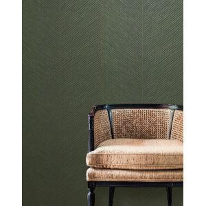Tropics Green Gold Palm Chevron Non Pasted Wallpaper