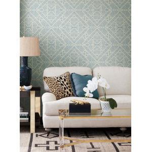 Tropics Blue Diamond Macrame Pre Pasted Wallpaper