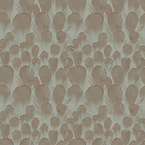 Antonina Vella Natural Opalescence Feathers Brown and Turquoise Wallpaper