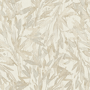 Antonina Vella Natural Opalescence Beige Rainforest Leaves Wallpaper