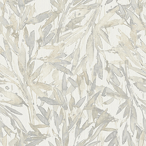 Antonina Vella Natural Opalescence Cream and Gray Rainforest Leaves Wallpaper