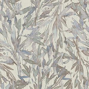 Antonina Vella Natural Opalescence Lavender and Light Blue Rainforest Leaves Wallpaper