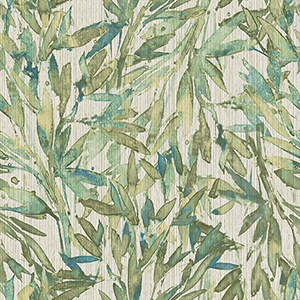 Antonina Vella Natural Opalescence Teal and Green Rainforest Leaves Wallpaper