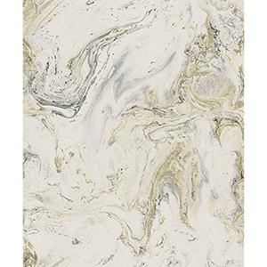 Antonina Vella Natural Opalescence White, Black and Gold Wallpaper