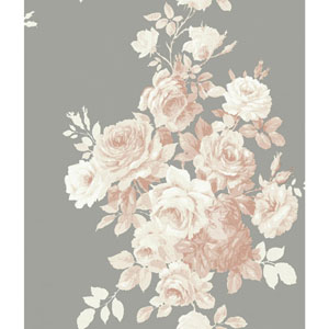 Tea Rose Blush and Grey Wallpaper