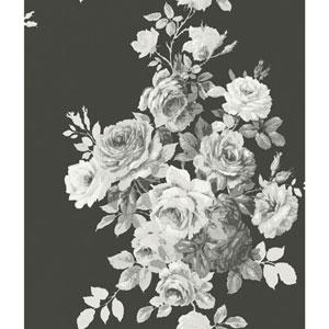 Tea Rose Black and White Wallpaper