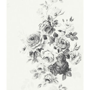 Tea Rose Black and White Wallpaper
