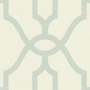 Woven Trellis Eggshell Blue on Cream Wallpaper