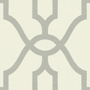 Woven Trellis Quarry Grey on Cream Wallpaper