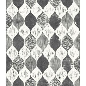 Woodblock Print Black and White Wallpaper