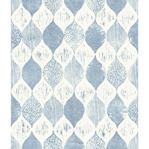 Woodblock Print True Blue Wallpaper