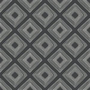 Diamond Sketch White on Black Wallpaper