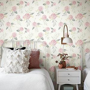 Watercolor Roses Pink Wallpaper