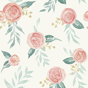 Watercolor Roses Red Wallpaper