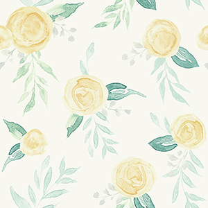 Watercolor Roses Yellow Wallpaper