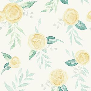 Watercolor Roses Yellow Wallpaper
