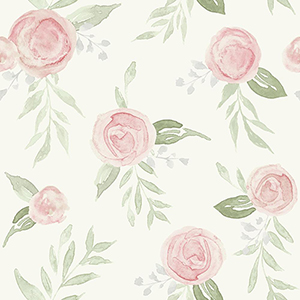 Watercolor Roses Coral Wallpaper