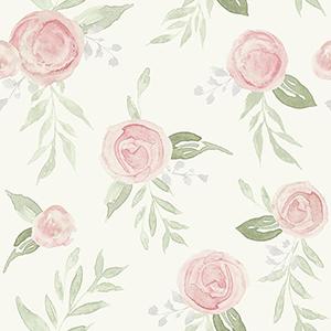 Watercolor Roses Coral Wallpaper