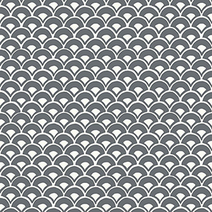 Stacked Scallops Grey Wallpaper