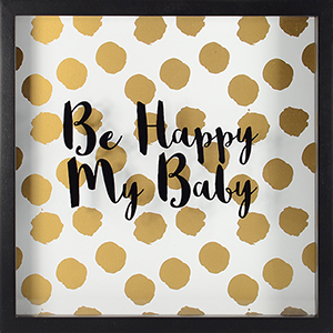 Happy Baby, Gold Shadowbox with Metallic Screenprint