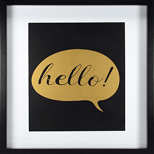 Hello, Gold Framed Artwork with Mat and Metallic Screenprint
