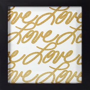 Love, Gold Framed Artwork with Glitter