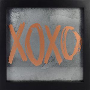 XOXO Framed Artwork with Metallic Screenprint