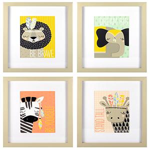 Explorer Animals Framed Artwork, Pack of Four
