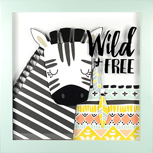 Wild and Free Shadowbox with Raised Shapes