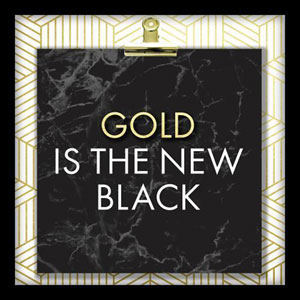 Gold Is The New Black 10 In. Shadowbox Wall Art