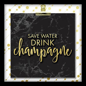 Save Water Drink Champagne 10 In. Shadowbox Wall Art
