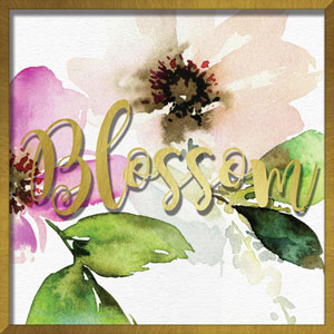 Blossom Watercolor Peony 16 In. Shadowbox Wall Art